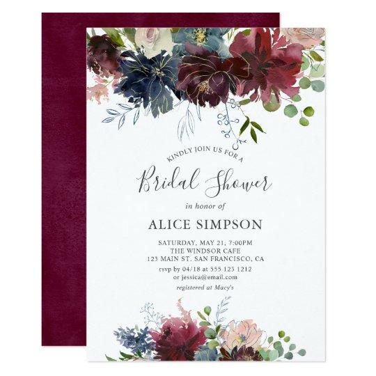 Rustic Burgundy Purple Floral Script Wedding Invitations: Burgundy Floral Mason Jar Rustic Bridal Shower Invitation