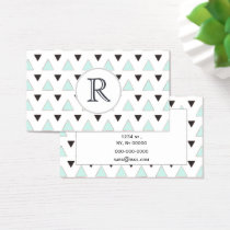 Blue and Charcoal Triangle Pattern Business Card