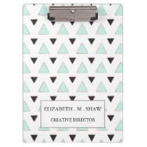 Blue and Charcoal Triangle Pattern Clipboard