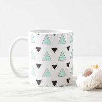 Blue and Charcoal Triangle Pattern Coffee Mug