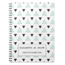Blue and Charcoal Triangle Pattern Notebook