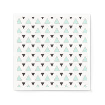 Blue and Charcoal Triangle Pattern Paper Napkin