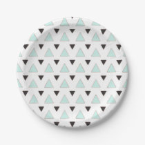 Blue and Charcoal Triangle Pattern Paper Plate