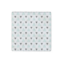 Blue and Charcoal Triangle Pattern Stone Magnet