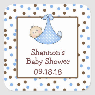 Blue and Chocolate Brown Baby Shower Favor Square Stickers