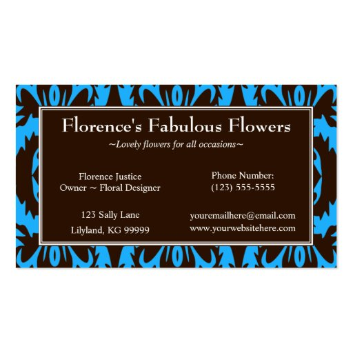 Blue and Chocolate Damask Profile Business Card