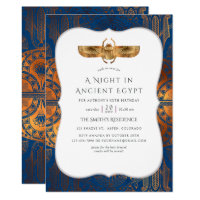 Blue and Copper Gold Foil Egyptian Themed Party Invitation