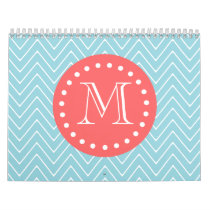 Blue and Coral Chevron with Custom Monogram Calendar