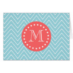 Blue and Coral Chevron with Custom Monogram Greeting Card