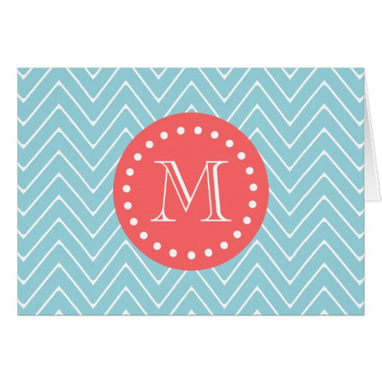 Blue and Coral Chevron with Custom Monogram Card