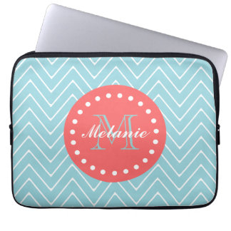 Blue and Coral Chevron with Custom Monogram Computer Sleeve