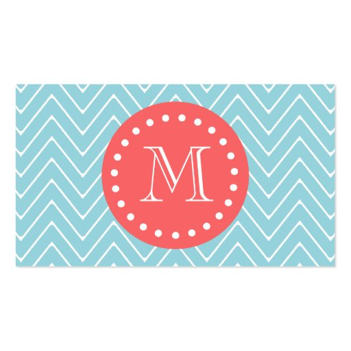 Blue and Coral Chevron with Custom Monogram Double-Sided Standard Business Cards (Pack Of 100)