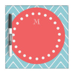 Blue and Coral Chevron with Custom Monogram Dry Erase White Board