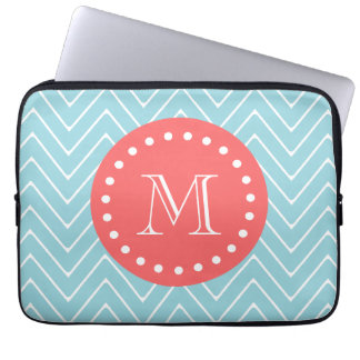 Blue and Coral Chevron with Custom Monogram Laptop Sleeve