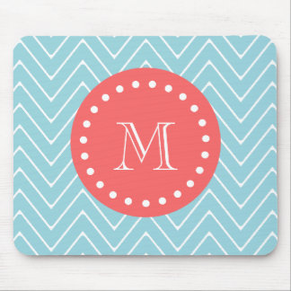 Blue and Coral Chevron with Custom Monogram Mouse Pad