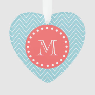 Blue and Coral Chevron with Custom Monogram Ornament