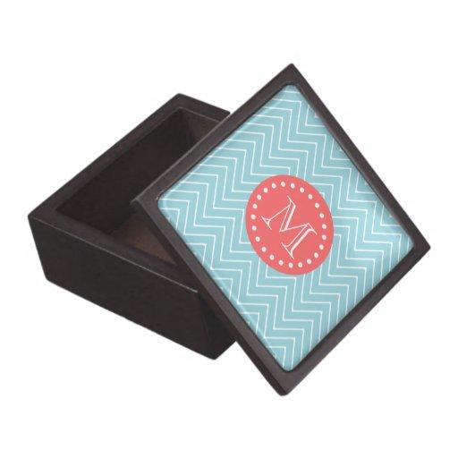 Blue and Coral Chevron with Custom Monogram Premium Keepsake Box