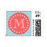 Blue and Coral Chevron with Custom Monogram Stamp