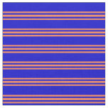 [ Thumbnail: Blue and Coral Colored Striped/Lined Pattern Fabric ]