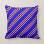 [ Thumbnail: Blue and Coral Colored Striped/Lined Pattern Throw Pillow ]