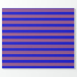 [ Thumbnail: Blue and Coral Colored Striped/Lined Pattern Wrapping Paper ]