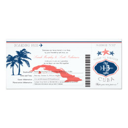 Blue and Coral Cuba Boarding Pass Palm Tree Card
