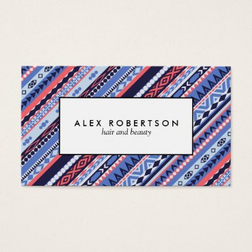 Aztec Themed Blue and Coral geometric Aztec stripe Business Card
