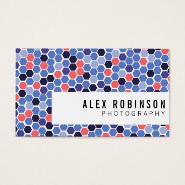 Professional Business Blue and coral geometric hexagon business card