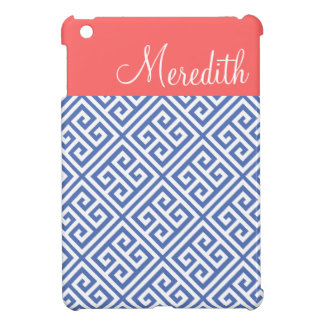 Blue and Coral Greek Key Custom Monogram iPad Mini Covers