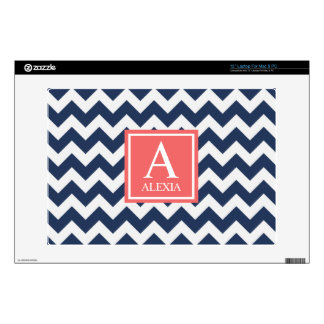 Blue and Coral Monogram Chevron Print Skin For Laptop