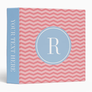 Blue and Coral pink chevron stripe 3 ring binder