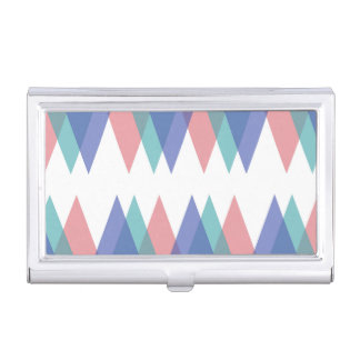 Blue and coral triangles business card case