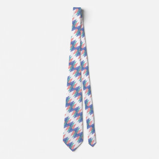 Blue and coral triangles neck tie