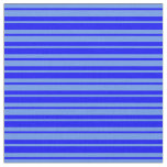 [ Thumbnail: Blue and Cornflower Blue Lines Pattern Fabric ]