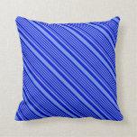 [ Thumbnail: Blue and Cornflower Blue Stripes Throw Pillow ]