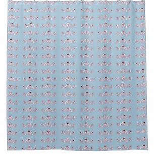 Blue And Cranberry Shower Curtain