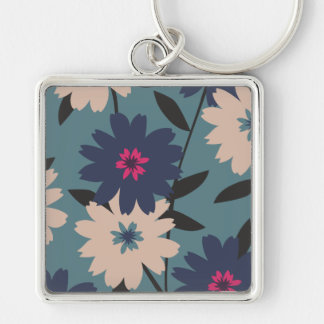 Blue and Cream Blooms Metal Keychain