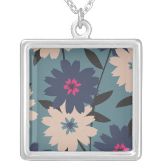 Blue and Cream Blooms Necklace