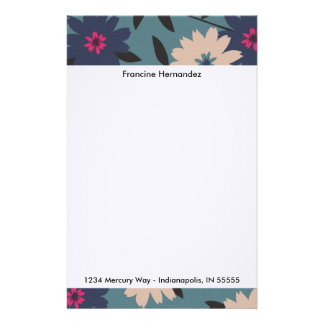 Blue and Cream Blooms Personalized Stationery