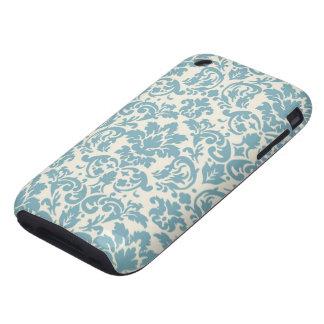 blue and cream damask flourish pattern iPhone 3 tough case