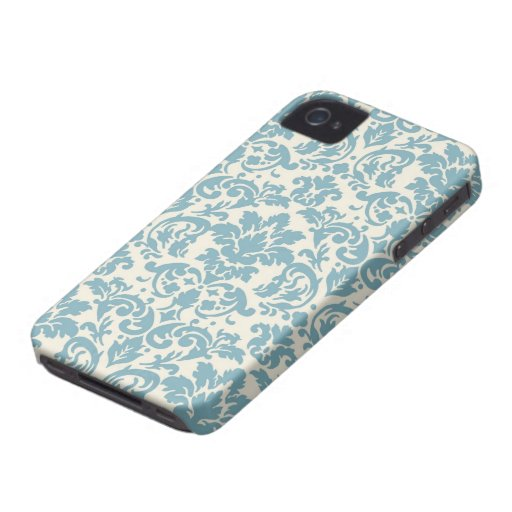 blue and cream damask flourish pattern iPhone 4 cover