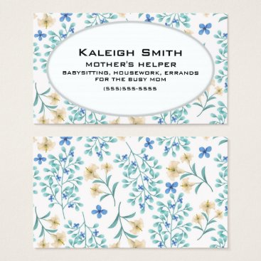 Professional Business Blue and Cream Floral on White Mother's Helper Business Card