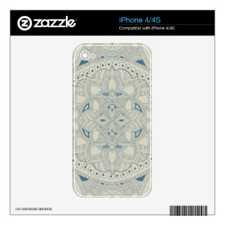 Blue and Cream Henna Style Mandala Decals For iPhone 4