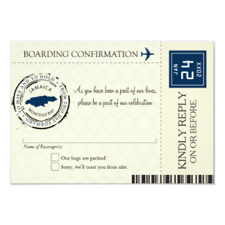 Blue and Cream Jamaica RSVP Boarding Pass Card