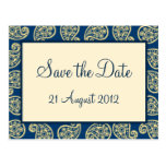 Blue and Cream Paisley Pattern Save the Date Card Postcards