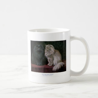 Blue and Cream Persian Cat Artwork Classic White Coffee Mug