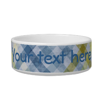 Blue and Cream Plaid Pattern Pet Bowl