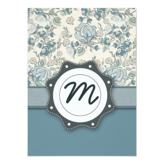 Blue and Cream Roses with Monogram Card