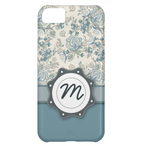 Blue and Cream Roses with Monogram iPhone 5C Covers