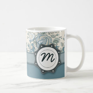 Blue and Cream Roses with Monogram Classic White Coffee Mug